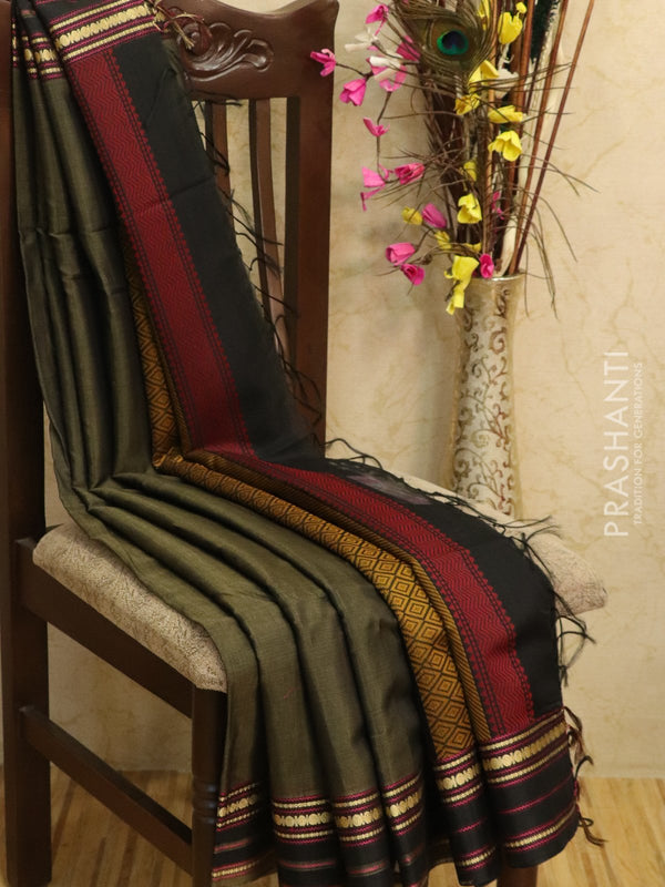 Kora silk cotton saree greyish black with thread buttas and simple zari border