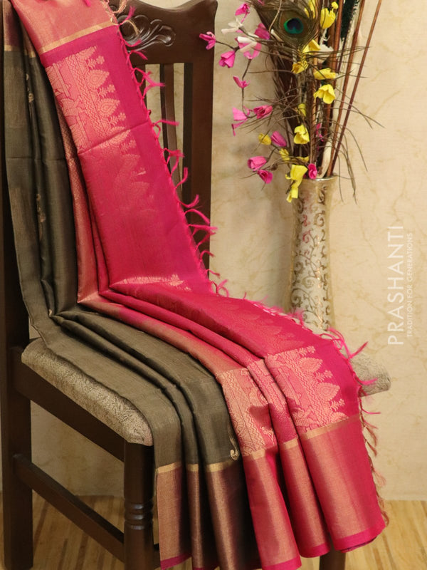 Kora silk cotton saree grey and pink with zari buttas and simple zari border