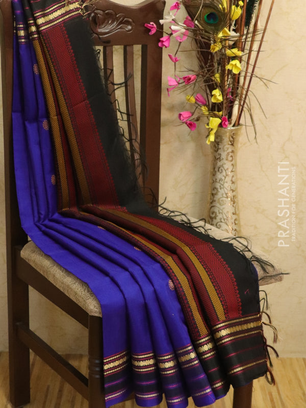 Kora silk cotton saree blue and black with thread woven buttas and simple border