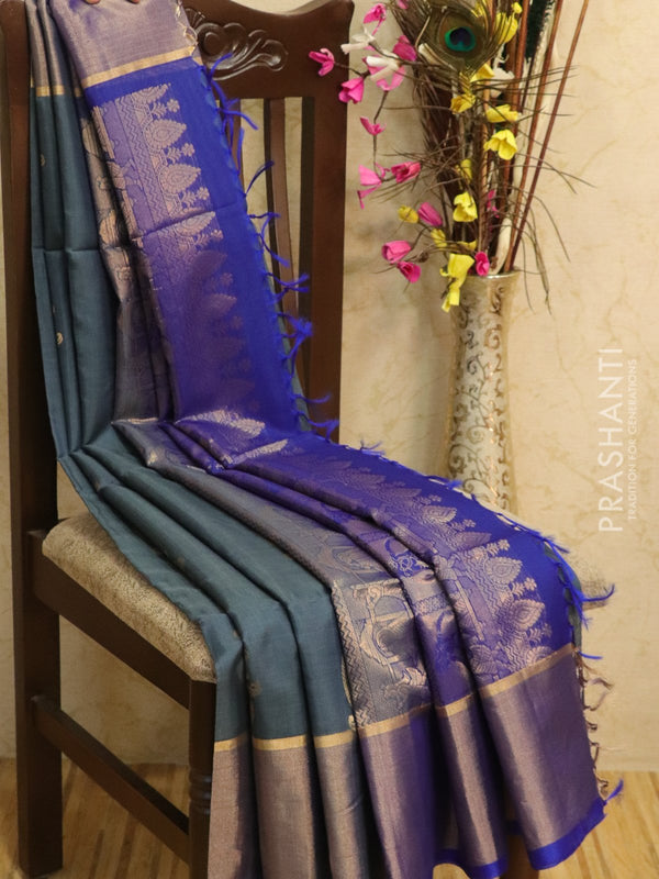 Kora silk cotton saree grey and blue with zari buttas and golden zari border