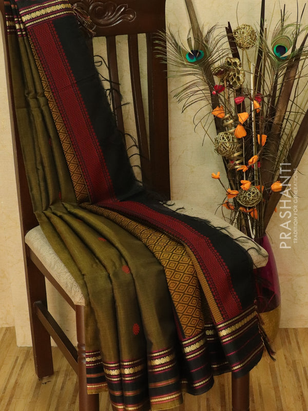Kora silk cotton saree chiku and black with thread woven buttas and simple border