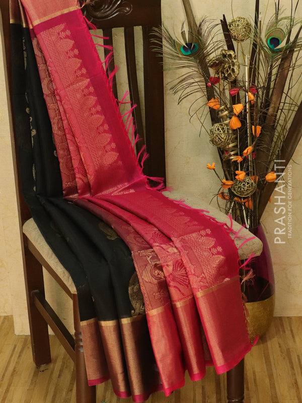 Kora silk cotton saree black and pink with zari buttas and golden zari border