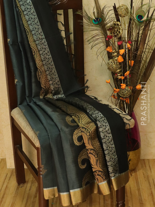 Kora silk cotton saree dark grey with zari buttas and golden zari border