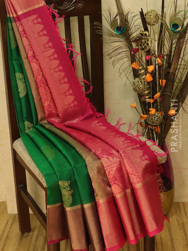 Kora silk cotton saree bottle green and pink with zari buttas and rich zari woven border