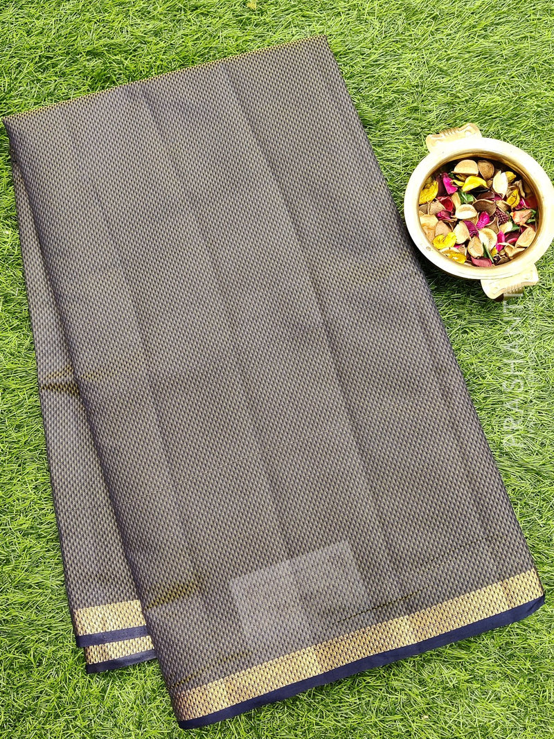Semi raw silk saree navy blue with half diamond zari border and self embose pattern