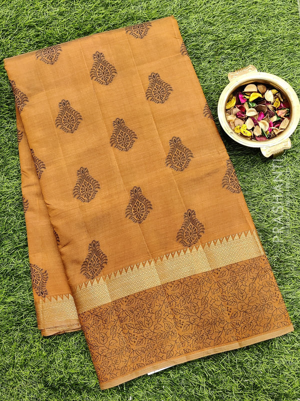 Semi raw silk saree brown with all over embroidery