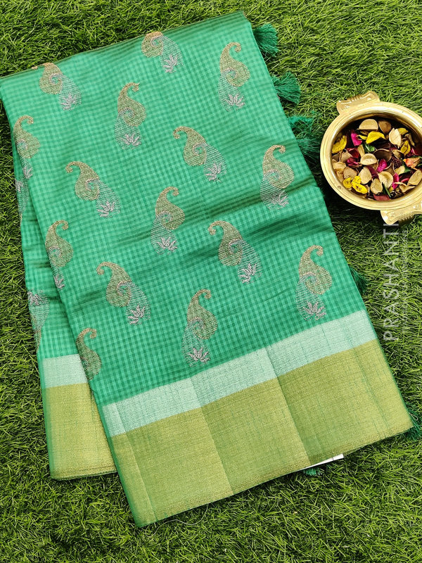 Semi raw silk saree green with all over embroidery