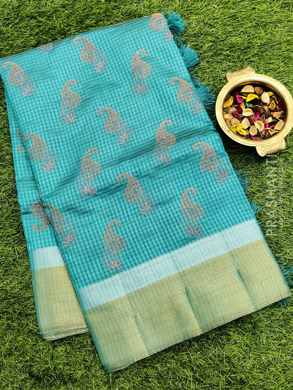 Semi raw silk saree blue with all over embroidery
