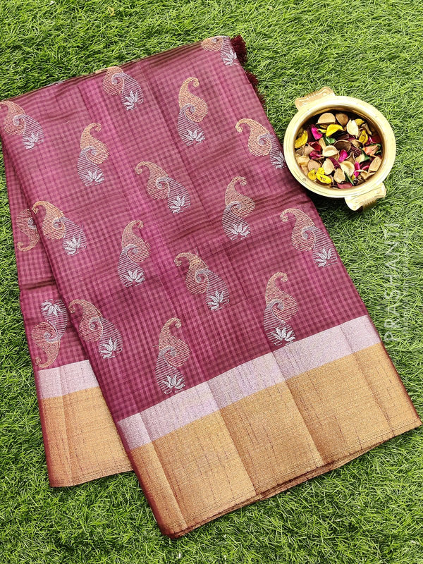 Semi raw silk saree coffee brown with all over embroidery