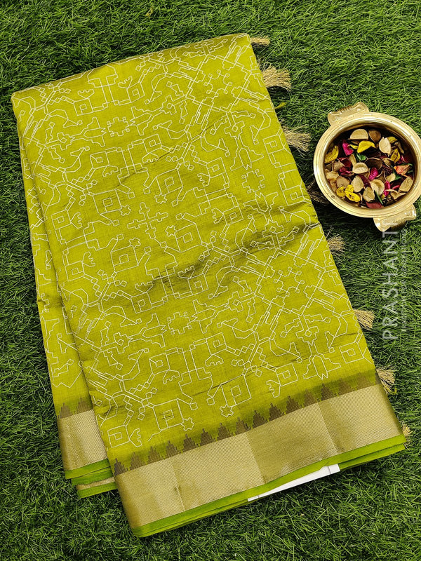 Semi raw silk saree light green with all over embroidery