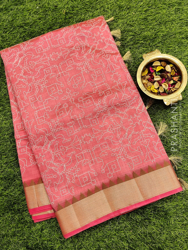 Semi raw silk saree peach with all over embroidery