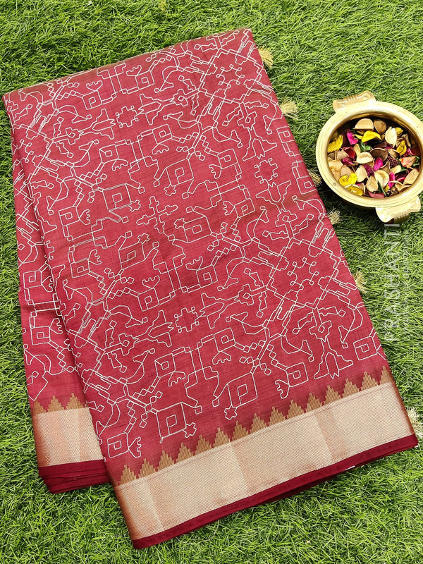 Semi raw silk saree maroon with all over embroidery