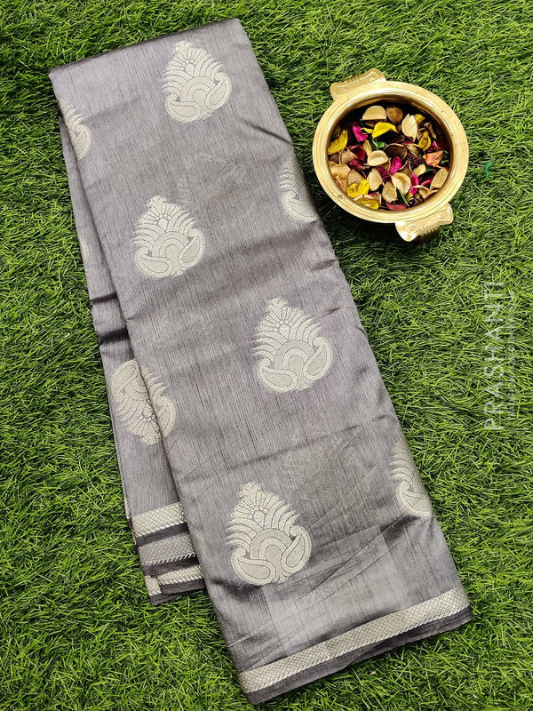 Semi raw silk saree grey with zari buttas and simple zari border