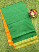 Semi silk cotton saree green and orange with zari woven border
