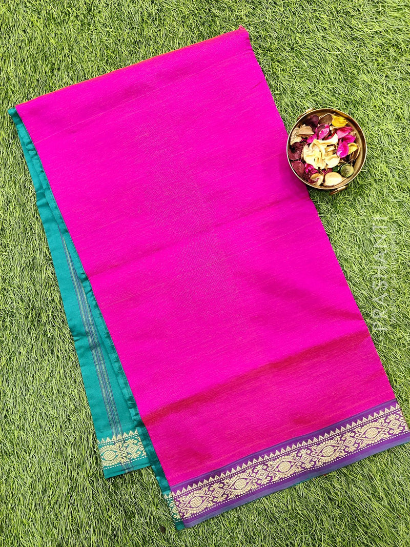Semi silk cotton saree pink and peacock green with zari woven border