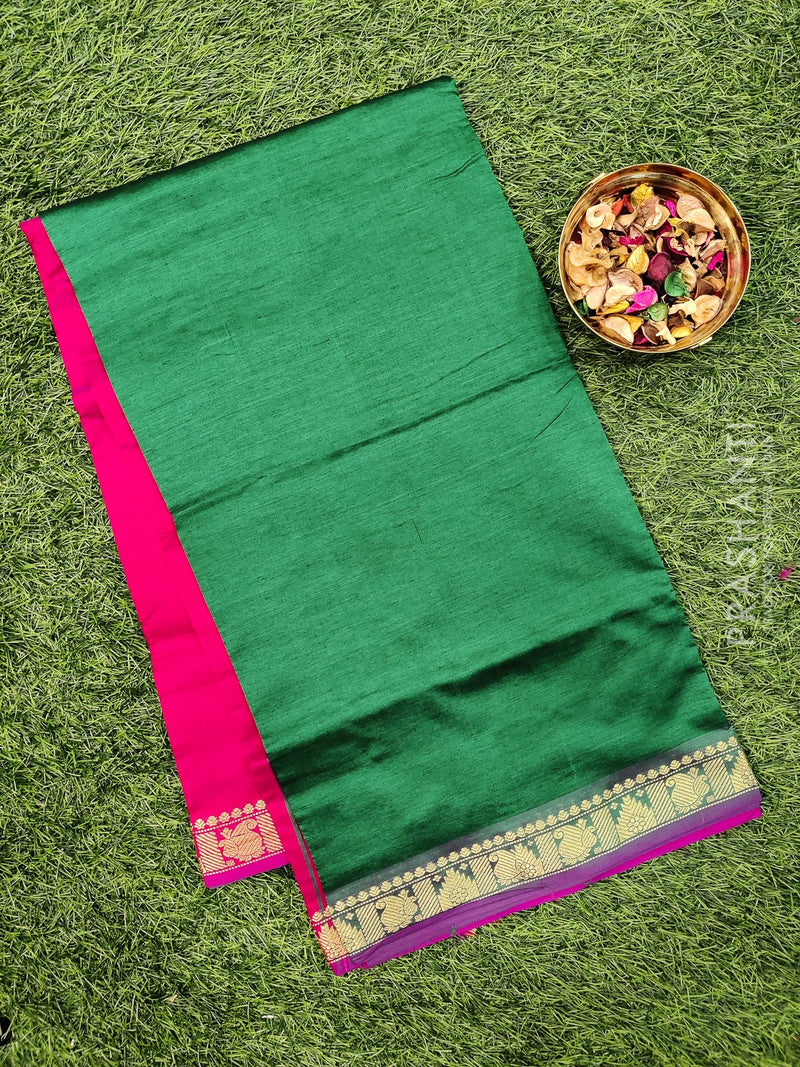 Semi silk cotton saree dark green and pink with zari woven border for Rs.Rs. 1220.00 | Cotton Sarees by Prashanti Sarees