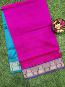 Semi silk cotton saree pink and blue with rich zari woven border