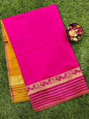 Semi silk cotton saree pink and mustard yellow with zari woven maharani border