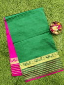 Semi silk cotton saree green and pink with zari woven maharani border