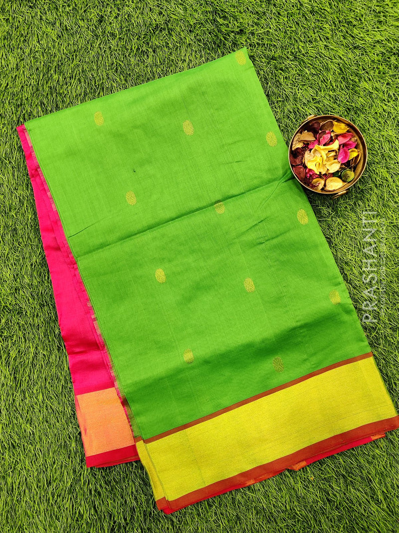 Semi silk cotton saree green and pink with zari woven buttas and kaddi zari border