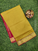 Semi silk cotton saree lime green and kumkum red with rich zari woven border