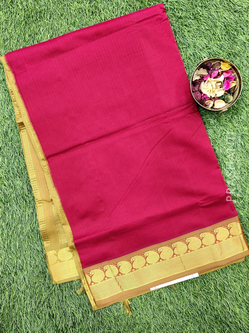 Semi silk cotton saree kumkum red and beige with rich zari woven border