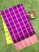 Semi silk cotton saree deep purple and green checked pattern with kaddi zari border