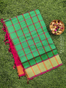 Semi silk cotton saree green and pink checked pattern with kaddi zari border