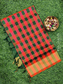 Semi silk cotton saree peachish orange and green checked pattern with kaddi zari border