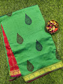 Semi silk cotton saree dual shade of green and maroon with allover prints and simple zari border