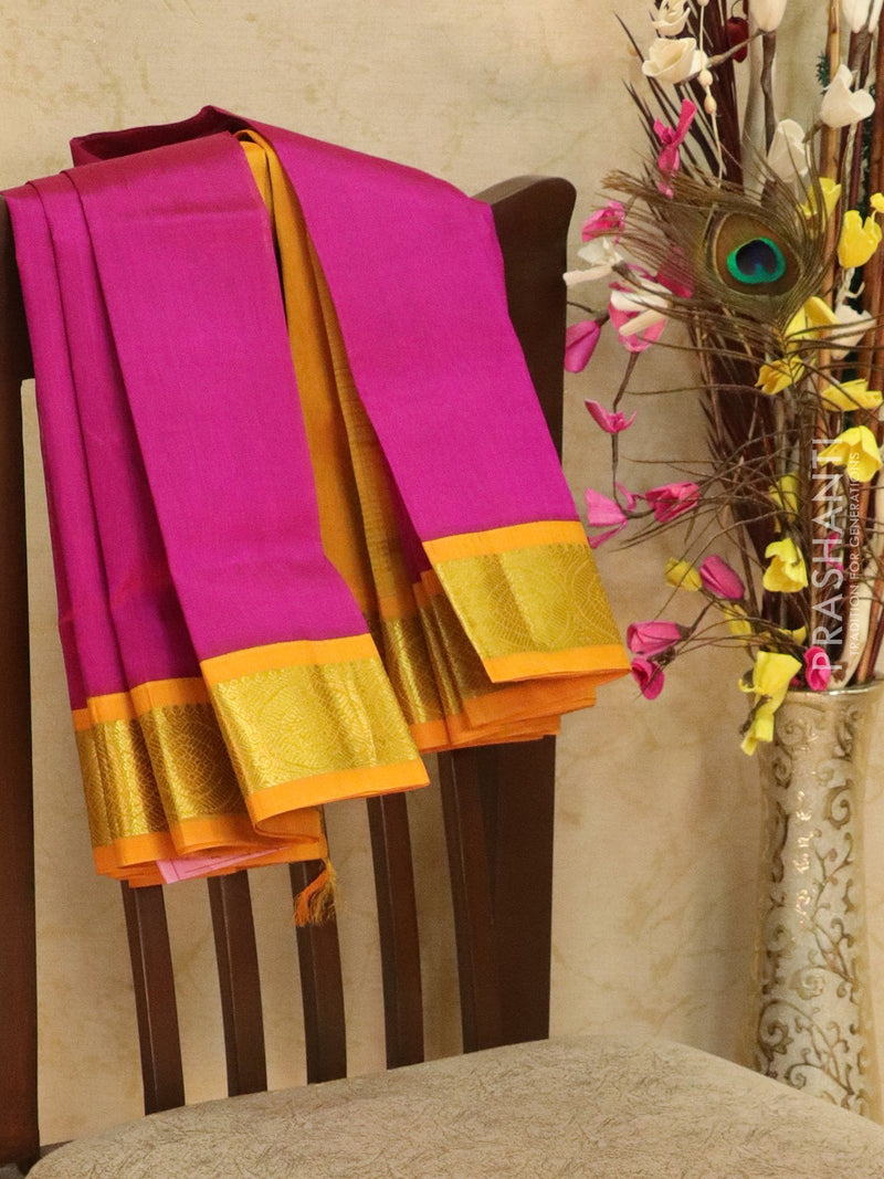 Silk Cotton saree magenta and yellow with rich korvai zari border