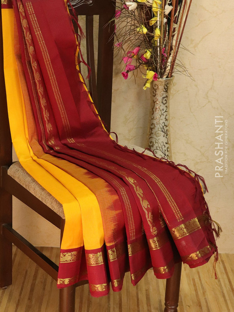 Silk Cotton saree yellow and maroon with rich korvai zari border