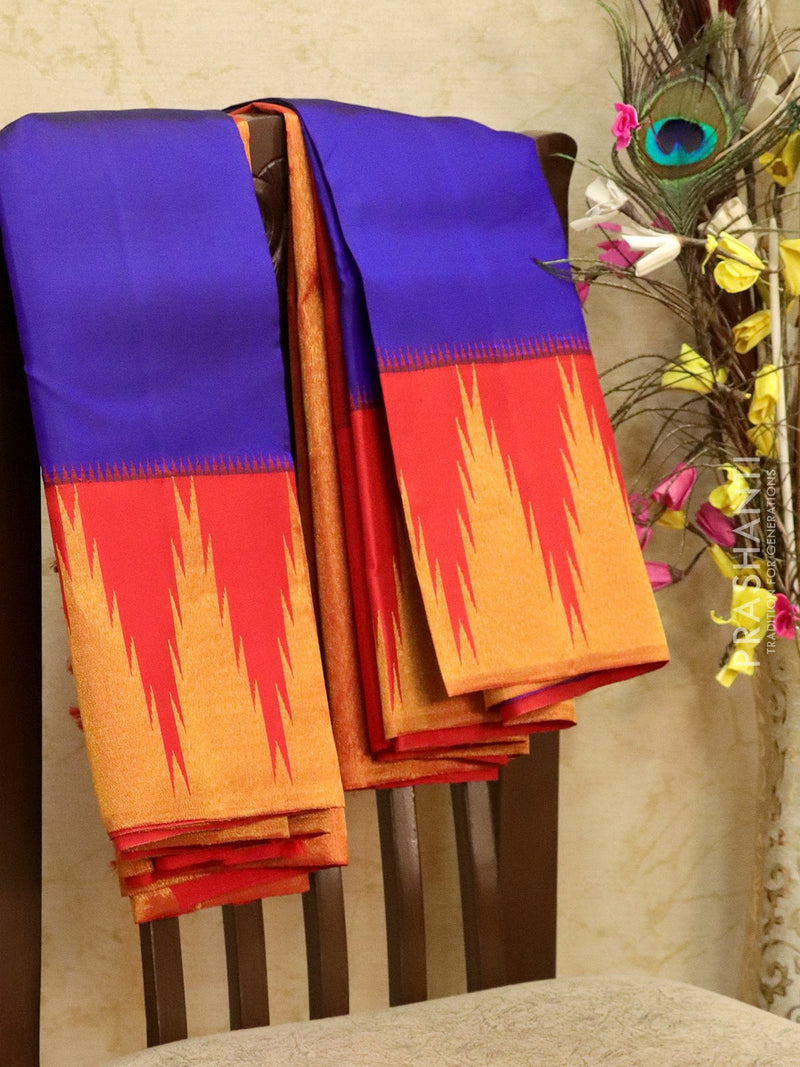 Pure kanjivaram silk saree violet and red with plain body and rich temple zari border