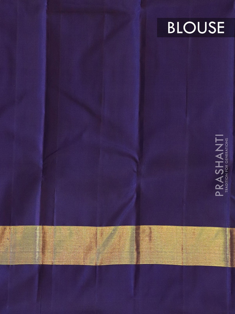 Pure kanjivaram silk saree blue and violet with plain body and long temple border