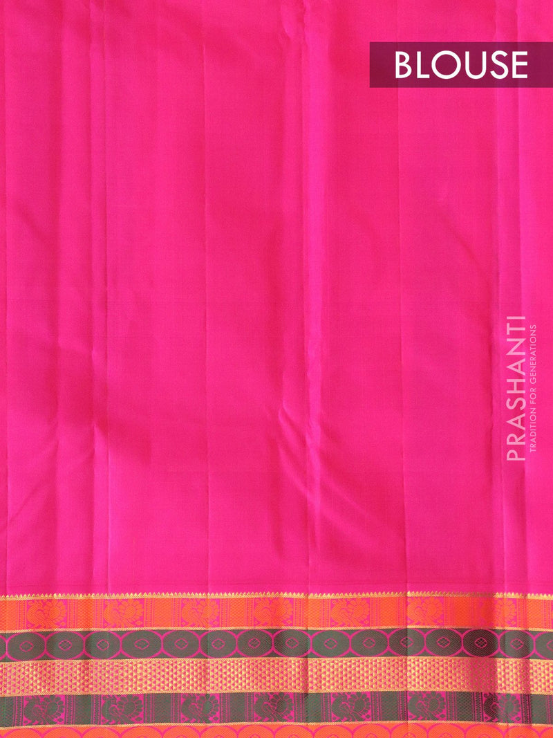 Pure kanjivaram silk saree yellow and pink with plain body and rich thread woven border