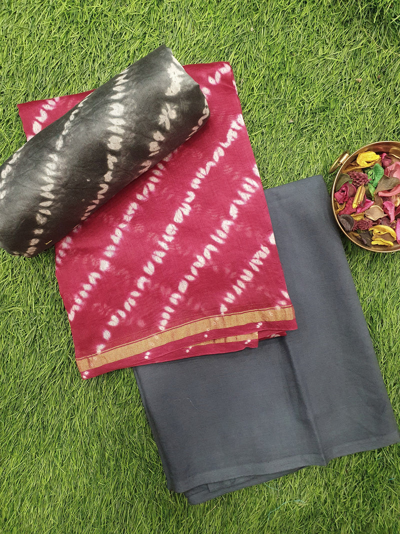 Pure chanderi dress material maroon and grey with tie and die pattern