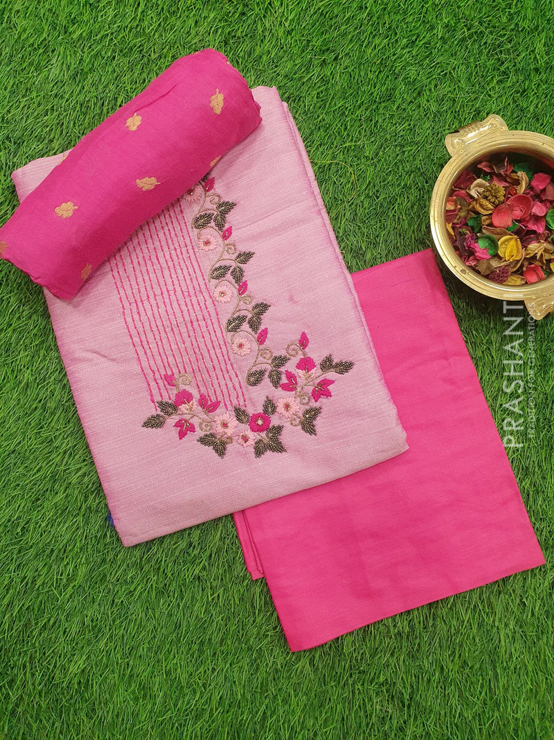 Raw silk dress material baby pink and pink with embroided neck and dupatta