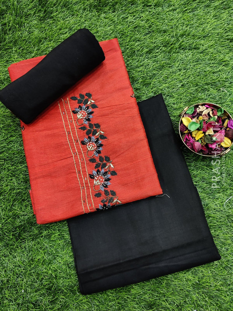 Raw silk dress material orange and black with embroided neck and dupatta