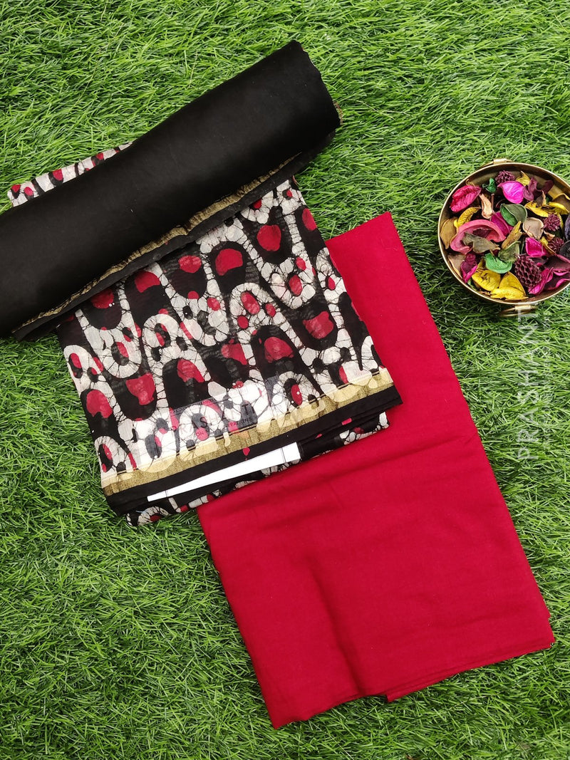 Pure chanderi dress material black and red with batik print and dupatta