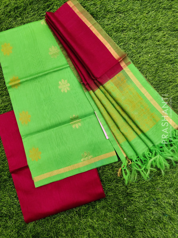 Silk cotton dress material green and maroon with zari woven buttas and woven dupatta