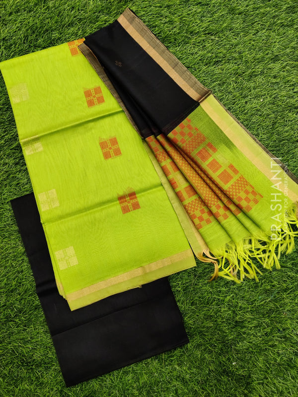 Silk cotton dress material lime green and black with zari woven buttas and woven dupatta