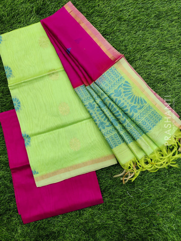 Silk cotton dress material green and pink with zari woven buttas and woven dupatta