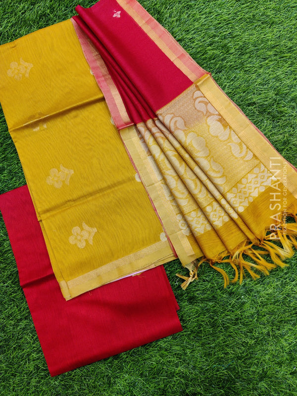 Silk cotton dress material mustard yellow and red with zari woven buttas and woven dupatta