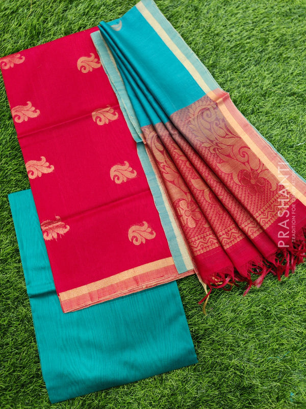 Silk cotton dress material red and peacock green with zari woven buttas and woven dupatta