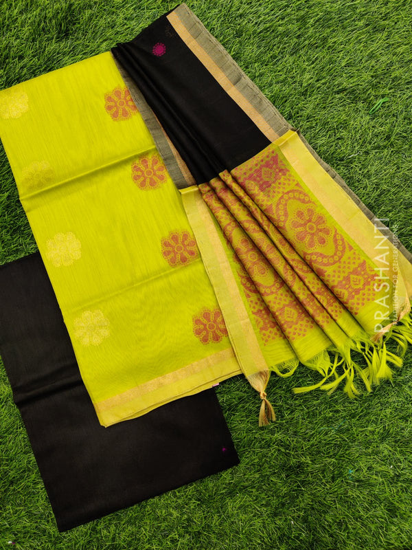Silk cotton dress material green and black with zari woven buttas and woven dupatta