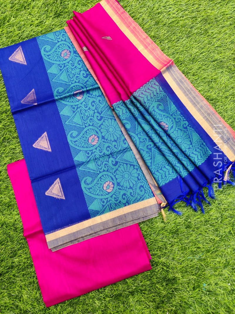 Silk cotton dress material blue and pink with zari woven buttas and woven dupatta