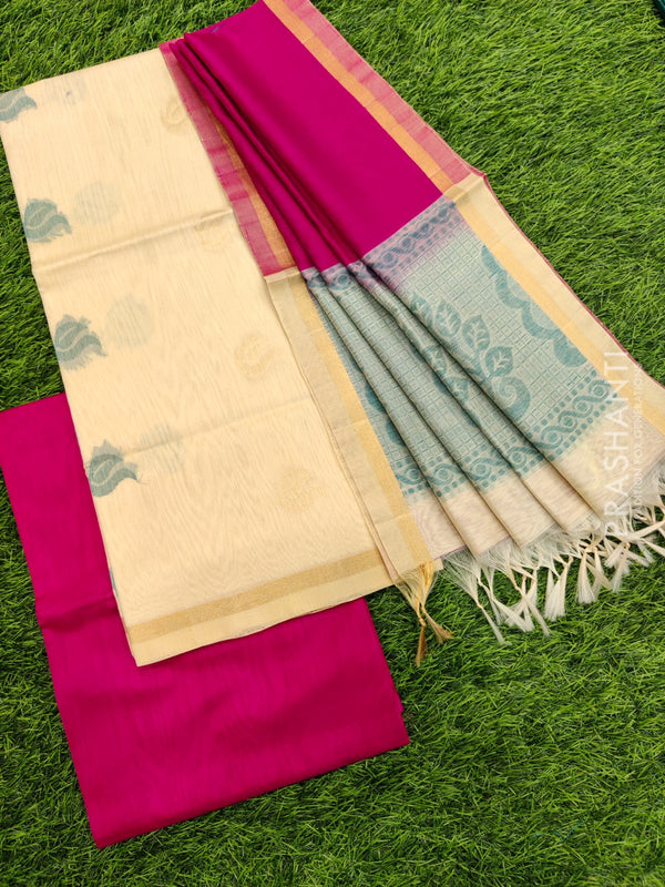 Silk cotton dress material off white and pink with zari woven buttas and woven dupatta