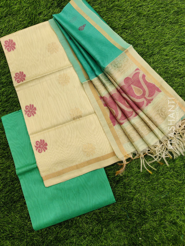 Silk cotton dress material off white and teal green with zari woven buttas and woven dupatta