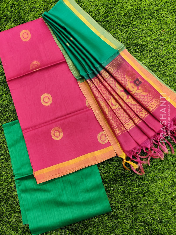 Silk cotton dress material pink and green with zari woven buttas and woven dupatta