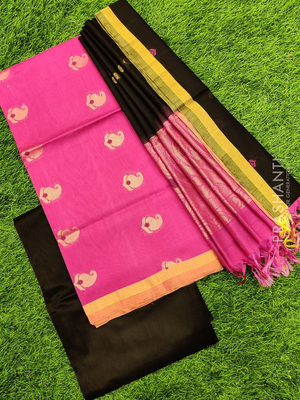 Silk cotton dress material pink and black with zari woven buttas and woven dupatta